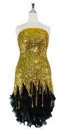 Short Handmade 8mm Cupped Sequin Dress in Metallic Gold with Black Chiffon Hemline and Bead Strands front view
