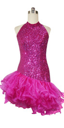 Short Handmade 8mm Cupped Sequin Dress in Metallic Fuchsia with Organza Ruffled Hemline and Chinese Collar Cut front view