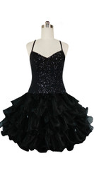 Short Handmade 8mm Cupped Sequin Dress in Black with Organza Ruffled Hemline front view