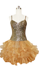 Short Handmade 8mm Cupped Sequin Dress in Metallic Light Gold with Organza Ruffled Hemline front view