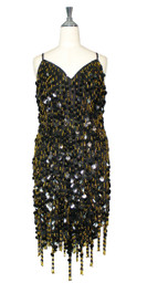Short Handmade 20mm Paillette Hanging Black Sequin Dress with Gold Beads and Jagged, Beaded Hemline front view