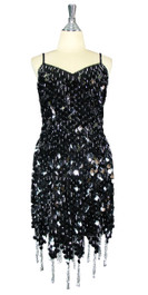 Short Handmade 20mm Paillette Hanging Black Sequin Dress with Silver Beads and Jagged, Beaded Hemline front view