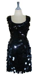 Short Handmade 30mm Paillette Hanging Black Sequin Sleeveless Dress with U Neck front
