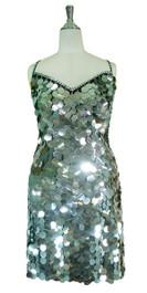 Short Handmade 30mm Paillette Hanging Metallic Silver Sequin Dress front view