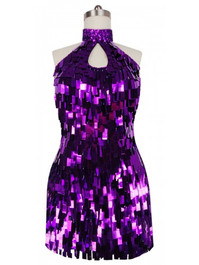 Short Handmade Rectangular Paillette Hanging Metallic Purple Sequin Dress with Chinese Collar and Keyhole Cut front view