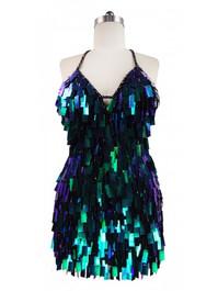 Short Handmade Rectangular Paillette Hanging Metallic Iridescent Dark Green Sequin Dress front