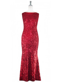 Long Cowl Back Handmade 8mm Cupped Sequin Dress in Hologram Red  front view