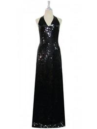 Long Handmade 10mm Flat Sequin Halter Neck Gown in Black front view