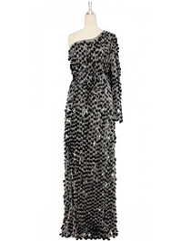 A long handmade sequin dress, in 30mm black paillette sequins with silver faceted beads and a luxe grey fabric background in a one-shoulder cut front view