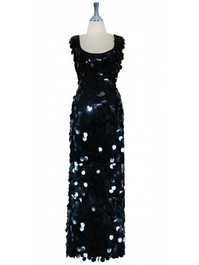 Long Handmade Paillette Sequin Gown in Black with a U-shaped Neckline front view