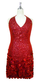 Short Halter Neck Handmade 8mm Cupped Sequin Dress in Red with Paillette Sequin Skirt front view