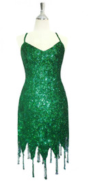 Short Handmade 8mm Cupped Sequin Dress in Metallic Green with Jagged Beaded Hemline front view