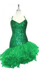 Short Handmade 8mm Cupped Sequin Dress in Metallic Dark Green with Organza Ruffled Diagonal Hemline front view