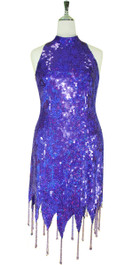 Short Handmade 10mm Flat Sequin Dress in Hologram Purple with Chinese Collar and Jagged, Beaded Hemline front view