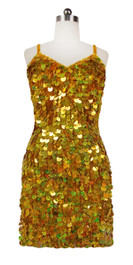 Short Handmade 20mm Paillette Hanging Sequin Dress in Hologram Gold front view
