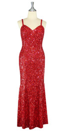 Long Handmade 8mm Cupped Sequin Dress in Hologram Red Front View