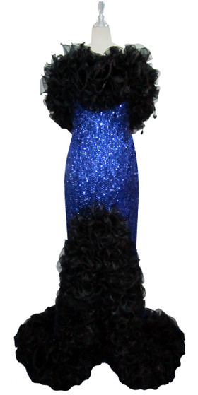 Long Handmade 8mm Cupped Sequin Dress in Hologram Dark Blue with Black Organza Ruffles front view