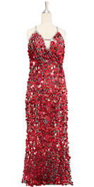 A long handmade sequin dress, in 20mm hologram red paillette sequins with silver faceted beads and a luxe grey fabric background in a classic cut front view