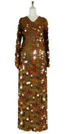 Long Handmade Paillette Sequin Gown in Hologram Brown with Oversize Sleeves front view
