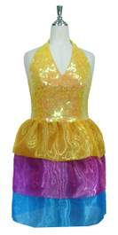 Short Handmade 10mm Flat Sequin Dress in Pastel Orange with Halter Neckline and Organza Skirt Front View