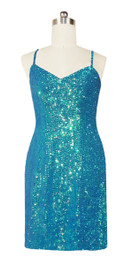 Short Handmade 8mm Cupped Sequin Gown in Iridescent Turquoise front view