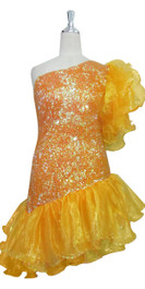 Short Handmade 8mm Cupped Sequin Dress in Iridescent Orange with Yellow Organza Ruffles and One-shoulder Cut front view