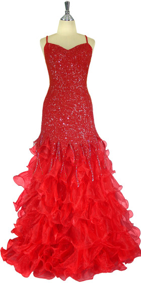 Long Handmade 8mm Cupped Red Sequin Dress with Ruffled Red Organza Skirt  front view