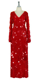 Long Handmade Paillette Sequin Gown in Transparent Red with Oversize Sleeves Front View