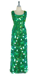 Long Handmade Paillette Sequin Gown in Transparent Iridescent Green with a U-shaped Collar front view
