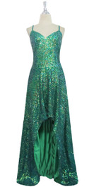 Long handmade Sequin Dress in Green With Fishtail Back