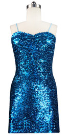 Sequin Fabric Short Dress in Turquoise Front View