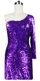 Sequin Fabric Short Dress in Purple with One Sleeve Front View