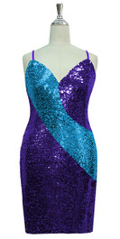 Short patterned dress in turquoise and purple sequin spangles fabric in a classic cut front view