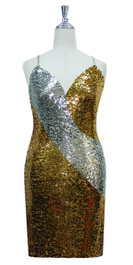 Short patterned dress in silver and gold sequin spangles fabric in a classic cut front view