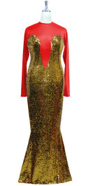 Long sleeved gown in metallic gold sequin spangles fabric and red stretch fabric with flared hemline front view