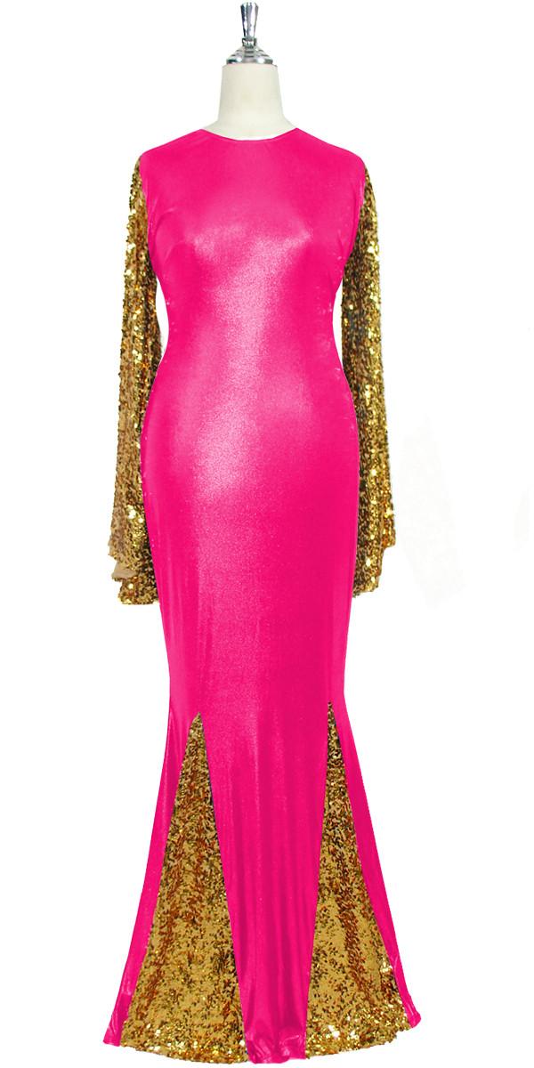 Long Dress   Oversized Sleeves   Metallic Gold Sequin Spangles ...