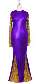 Oversized sleeve gown in metallic gold sequin spangles fabric and purple stretch fabric with flared hemline front view