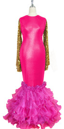 Oversized sleeve gown in metallic gold sequin spangles fabric and pink stretch fabric with pink organza ruffles hemline front view