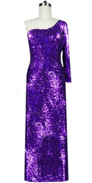 Long dress in metallic purple sequin spangles fabric and one-shoulder cut with sleeves front view