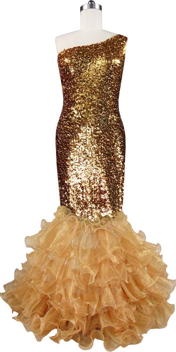 Long Dress | One Shoulder Cut | Metallic Gold Sequin Spangles Fabric ...