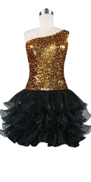 Short  Sequin Fabric Dress In Gold With Ruffle Hemline With One-Shoulder Neckline Front View
