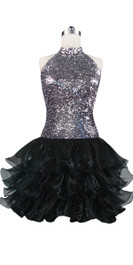 Short  sequin fabric dress with a Chinese collar and open back in silver sequin spangles fabric With Ruffle Hemline front view
