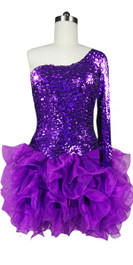 Short Shimmering Sequin Fabric Short Dress In Purple With One Sleeve And Ruffle Hemline Front View