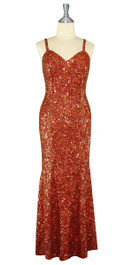 Long Handmade 8mm Cupped Sequin Dress in Hologram Brown Front View