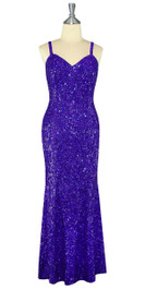 Long Handmade 8mm Cupped Sequin Dress in Hologram Royal Purple front view