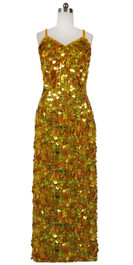 Long Handmade Paillette Sequin Gown in Hologram Gold Front View