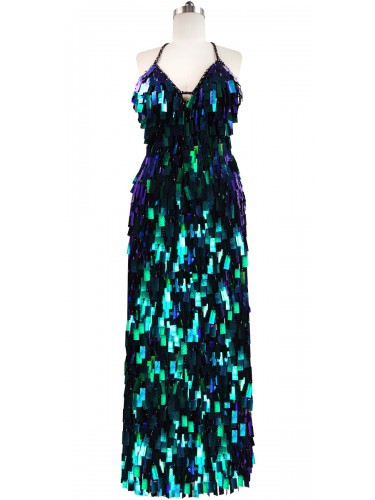 Long Handmade Rectangular Paillette Sequin Gown in Iridescent Green Front View
