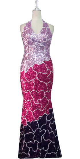 Handmade Long Patterned Halter Neck Dress in Pink and Purple 8mm Cupped Sequins Front View