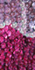 Handmade Long Patterned Halter Neck Dress in Pink and Purple 8mm Cupped Sequins Close Up View