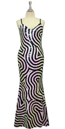 Long Handmade Swirl Patterned Sequin Gown in Black and White Front View